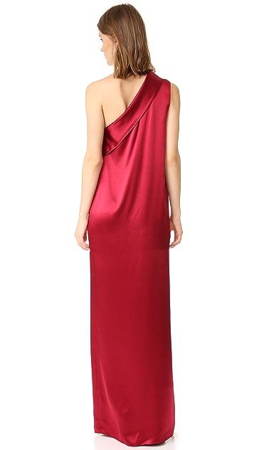 Michelle Mason Asymmetrical Lapel Gown
