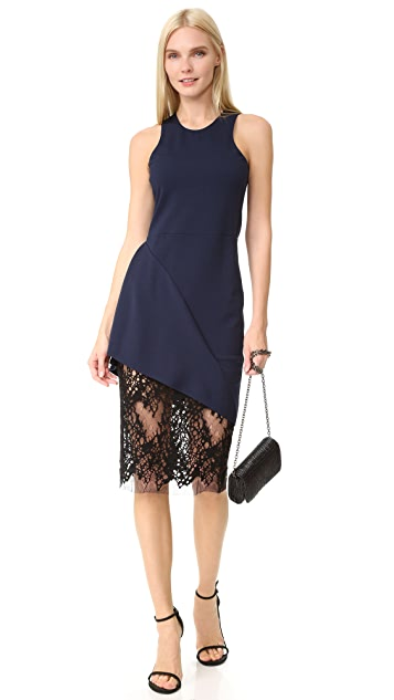 Michelle Mason Racer Dress with Lace Skirt