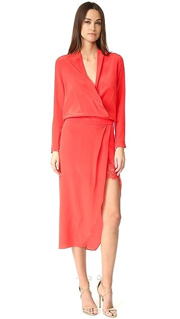 3efed42294 Michelle Mason Long Sleeve Wrap Dress with Lace Slip