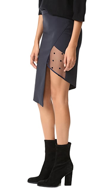 Michelle Mason Mesh Panel Asymmetrical Skirt