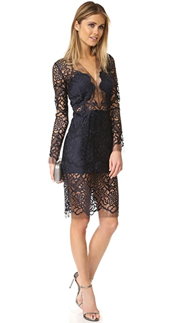 Michelle Mason Long Sleeve Lace Dress