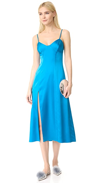 Michelle Mason Bustier Midi Dress with Slit