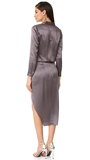 Michelle Mason Long Sleeve Dress with Lace Slip