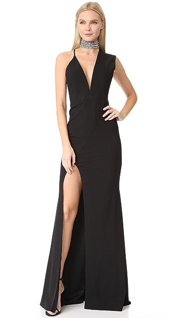 Michelle Mason Asymmetrical Plunge Gown