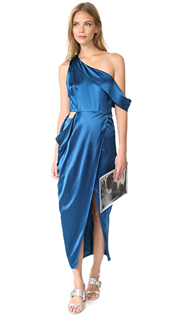 Michelle Mason Asymmetrical Draped Midi Dress