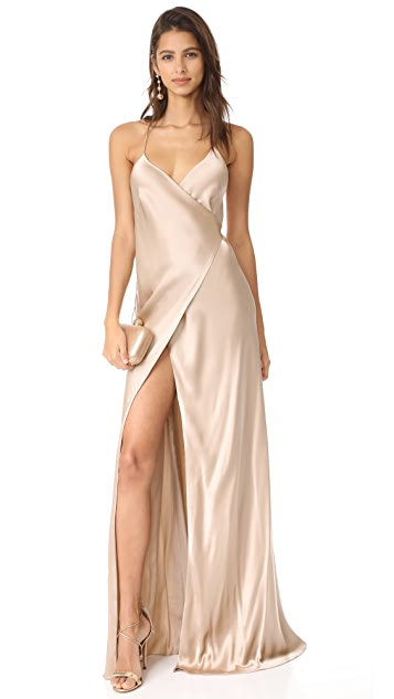 Michelle Mason Strappy Wrap Gown