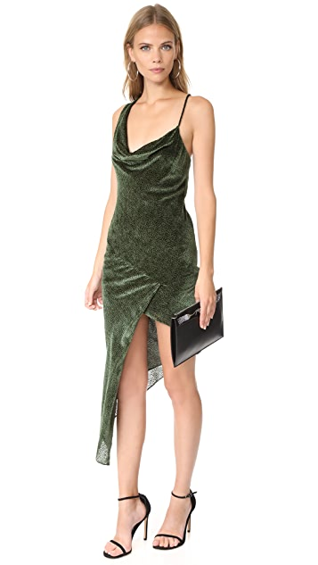 Michelle Mason Asymmetrical Bias Velvet Maxi Dress
