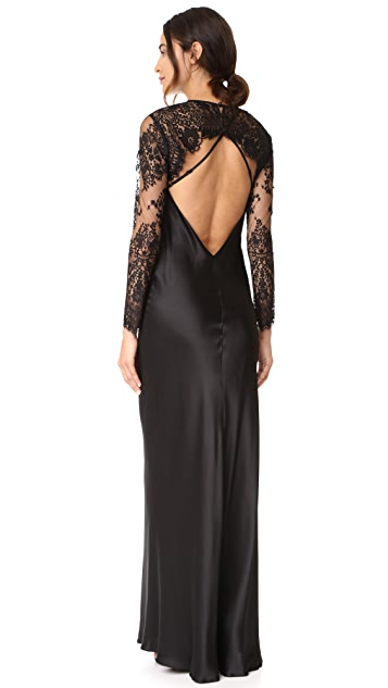 Michelle Mason Bias Maxi Gown with Lace Shrug