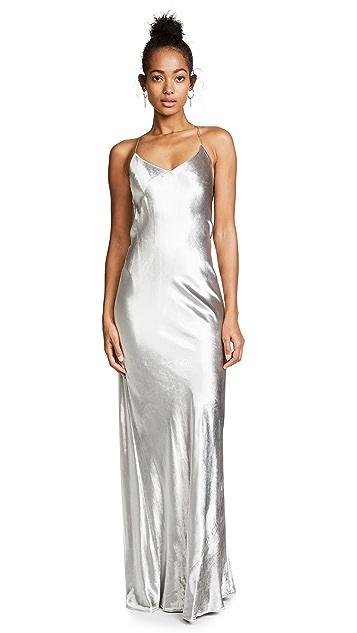 Michelle Mason Bias Maxi Velvet Gown