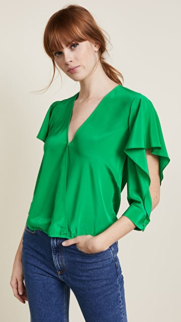Michelle Mason Flutter Sleeve Blouse