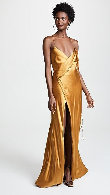 Michelle Mason Strappy Cowl Neck Gown
