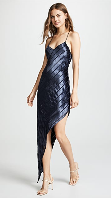 Michelle Mason Asymmetrical Velvet Bias Dress