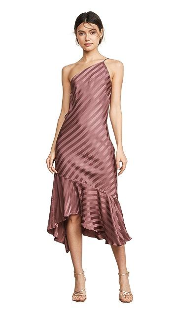Michelle Mason One Shoulder Ruffle Hem Dress