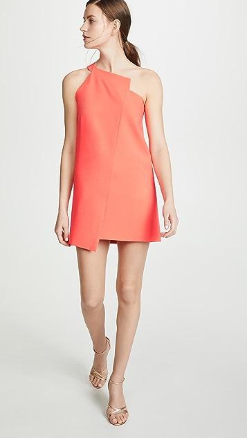 Michelle Mason One Shoulder Shift Dress - Watermelon