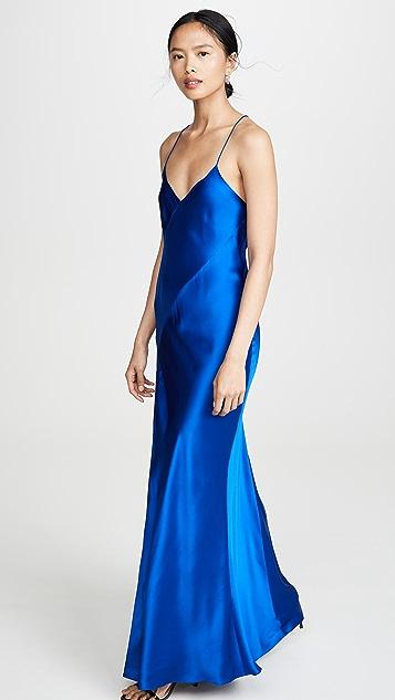 Michelle Mason 开衩斜纹礼服