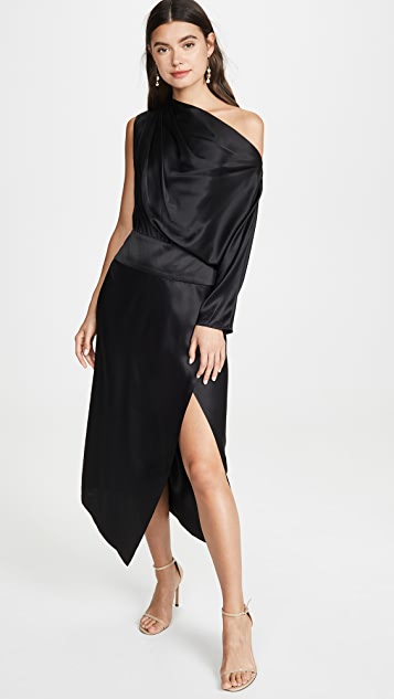Michelle Mason One Sleeve Draped Dress