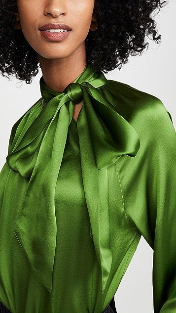 Michelle Mason Tie Neck Blouse