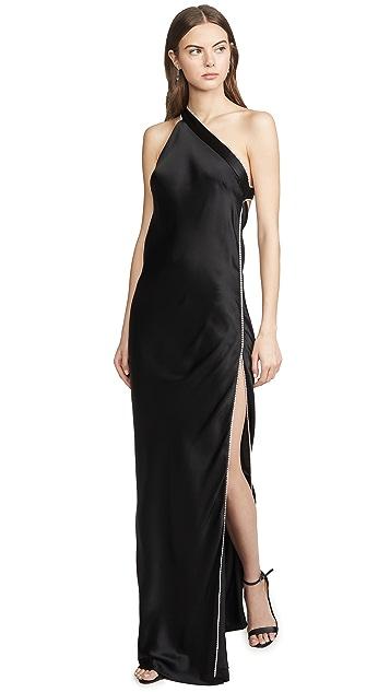 Michelle Mason Crystal Asymmetrical Gown
