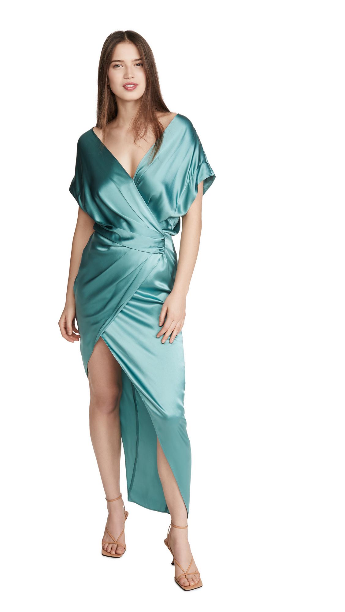 Michelle Mason Wide Neck Wrap Dress