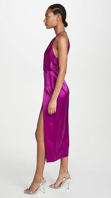 Michelle Mason Pleat Halter Dress
