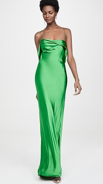 Michelle Mason Ruffle Cowl Bias Gown