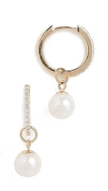 Mateo 14k 金镶钻可拆卸珍珠吊坠贴耳耳环