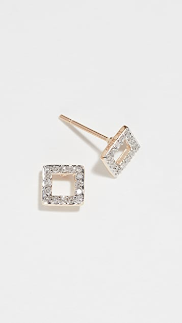 Mateo 14k Mini Diamond Square Studs