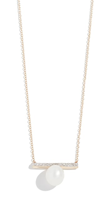 Mateo 14k Gold Diamond Bar Single Pearl Necklace
