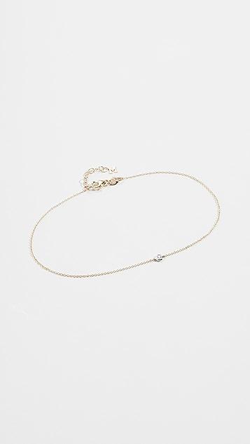 Mateo Браслет-цепочка на щиколотку из 14-каратного золота с одним бриллиантом в закрепке «безель»