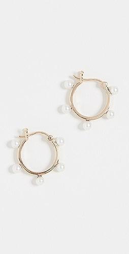Mateo - 14k Freshwater Cultured Pearl Dot Hoop Earrings