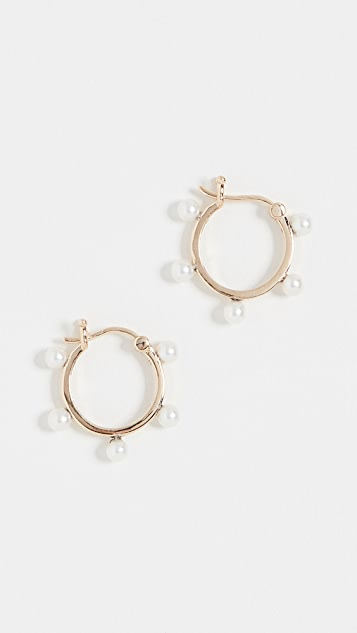 Mateo 14k Freshwater Cultured Pearl Dot Hoop Earrings
