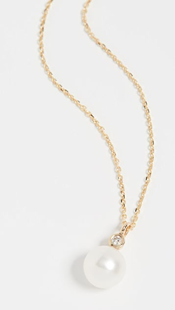 Mateo 14k 淡水养殖珍珠钻石项链