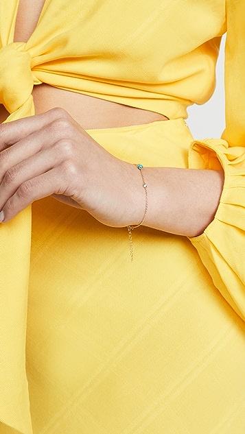 Mateo 14k 绿松石和钻石链条手链