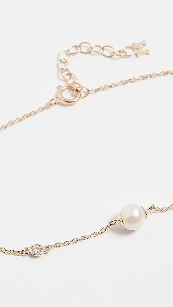 Mateo 14k 淡水养殖珍珠和钻石链式手链