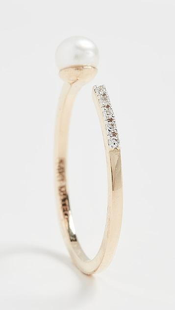 Mateo 14k 单珍珠和钻石戒指