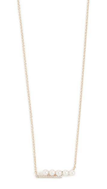 Mateo 14k Pearl and Diamond Bypass Bar Necklace