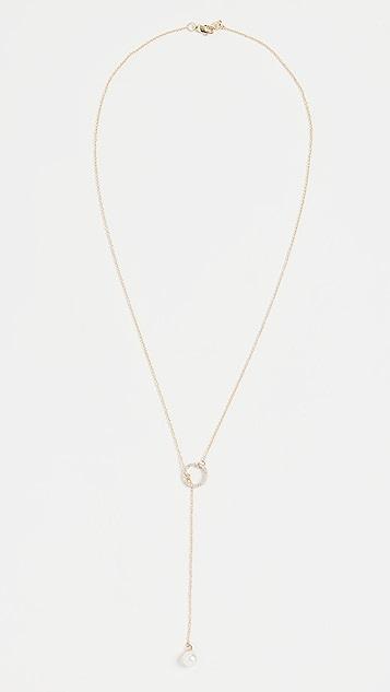 Mateo 钻石圆圈珍珠套索项链