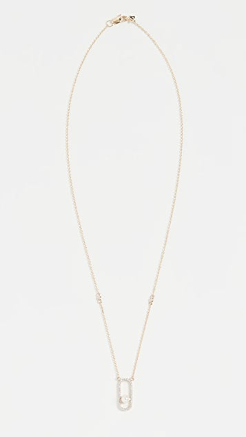 Mateo 14k Diamond Pearl Track Necklace