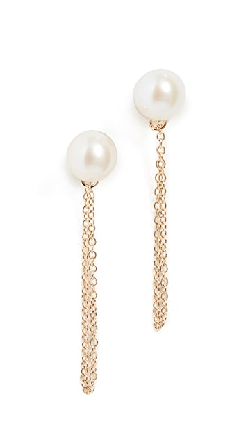Mateo 14k Pearl Studs with Chain Drop Earrings