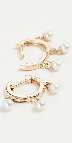 Mateo - 14k Gold Trio Pearl Huggie Earrings