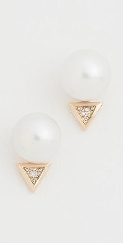 Mateo - 14k Triangle Pearl Stud Earrings