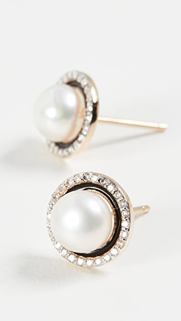 Mateo 14k Enamel and Pearl Diamond Studs