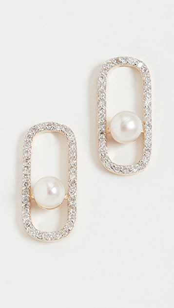 Mateo 14k Diamond Pearl Track Earrings