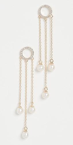 Mateo - 14k Pearl Circle Tassel Earrings