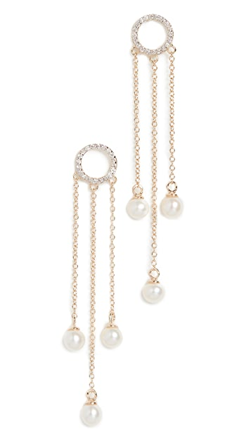 Mateo Pearl Circle Tassel Earrings