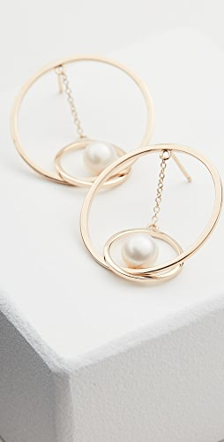 Mateo - 14k Gold Suspended Circle Pearl Earrings