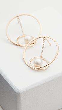 Mateo 14k Gold Suspended Circle Pearl Earrings
