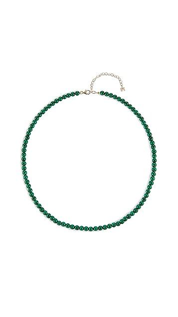Mateo 14k 孔雀石珠饰短项链 - 4mm 珠饰
