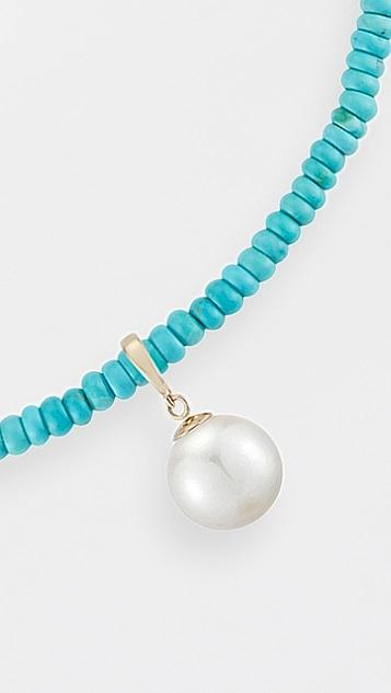 Mateo 14k 绿松石珠饰珍珠吊坠短项链