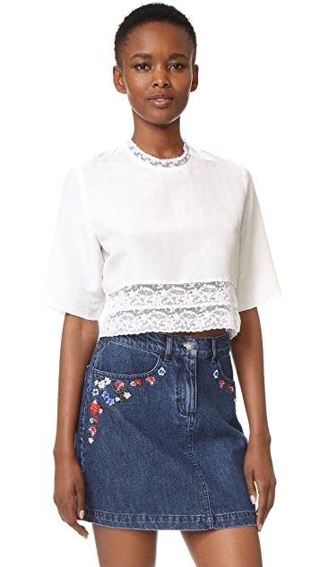 MATIN French Lace Cropped Blouse